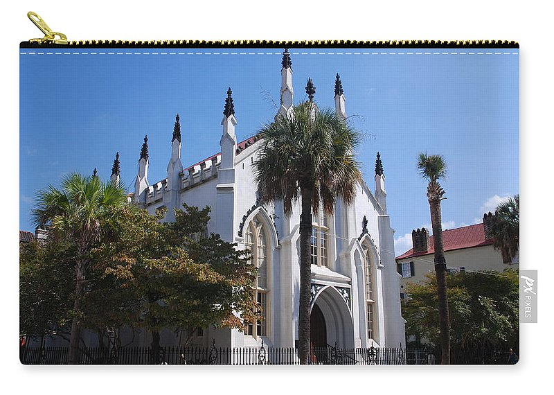 Photography Carry-all Pouch featuring the photograph French Huguenot Church In Charleston by Susanne Van Hulst