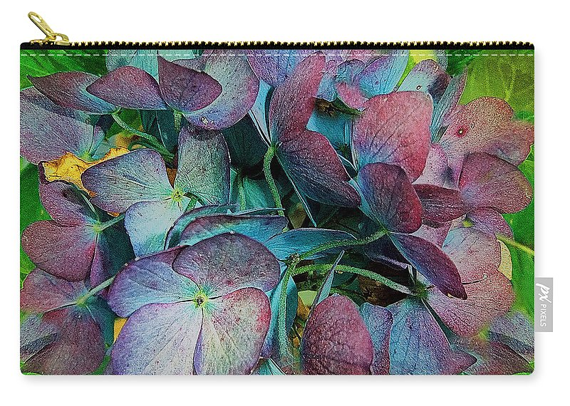 Hydrangea Carry-all Pouch featuring the painting French Hydrangea Rainbow by RC DeWinter