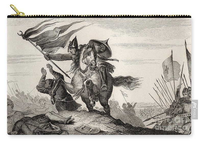 Crusades Carry-all Pouch featuring the drawing French Knight In Battle by French School