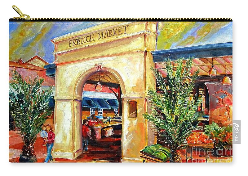 New Orleans Carry-all Pouch featuring the painting French Market Sunshine by Diane Millsap