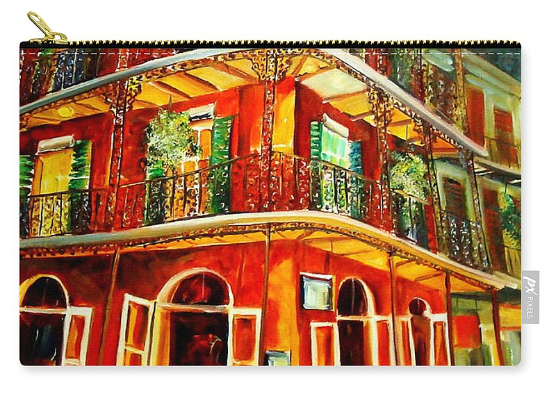 New Orleans Carry-all Pouch featuring the painting French Quarter Corner by Diane Millsap