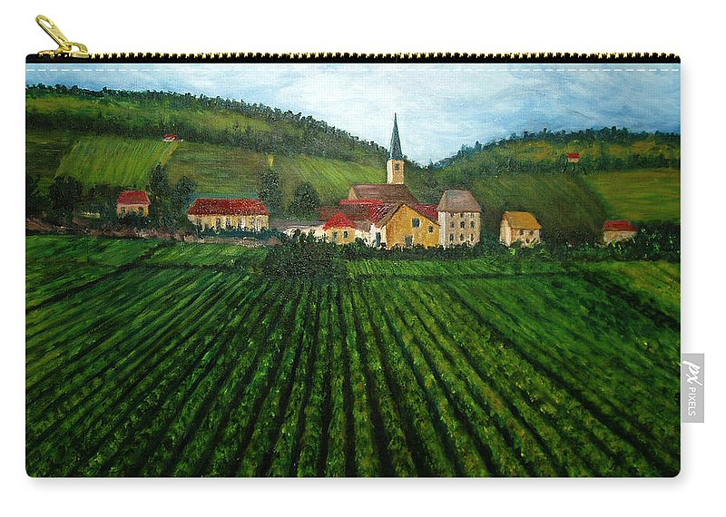 Acrylic Carry-all Pouch featuring the painting French Village In The Vineyards by Nancy Mueller