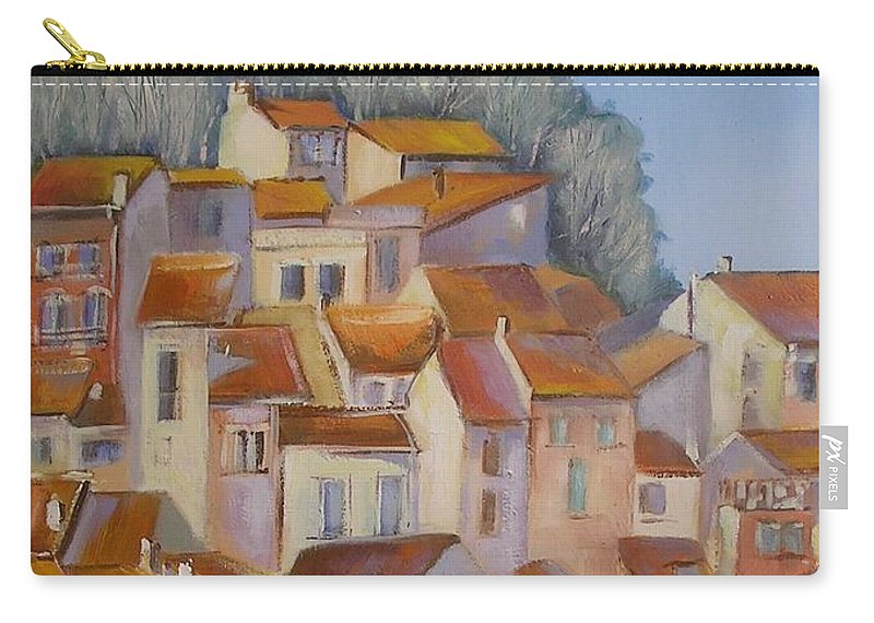 Rural Painting Carry-all Pouch featuring the painting French Villlage Painting by Chris Hobel