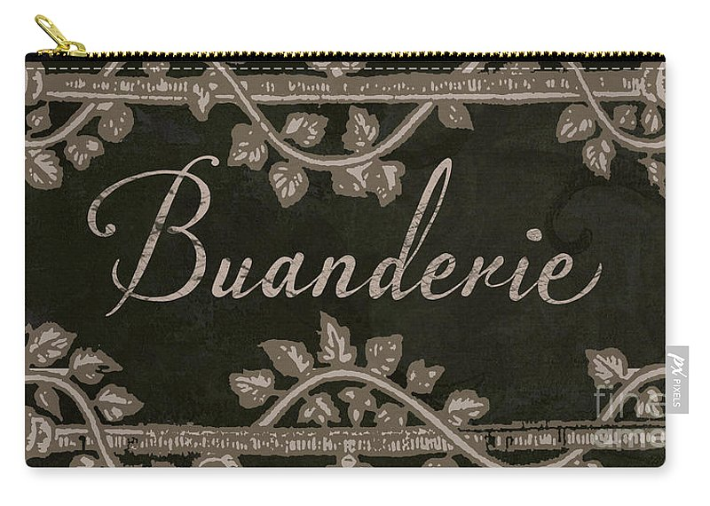 Buanderie Carry-all Pouch featuring the painting French Vintage Laundry Sign by Mindy Sommers