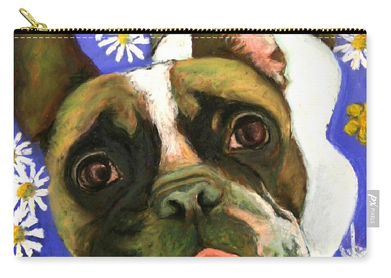 Pet Portrait Carry-all Pouch featuring the painting Frenchie Plays With Frogs by Minaz Jantz