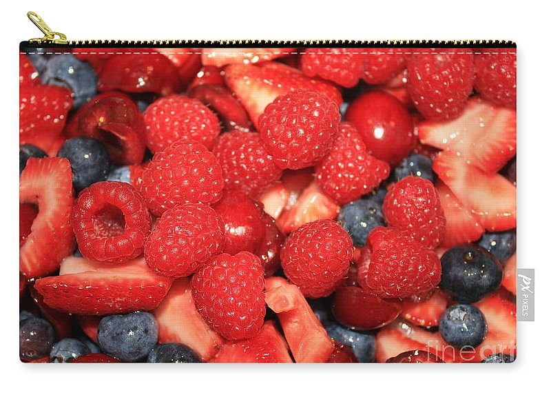 Fruit Salad Carry-all Pouch featuring the photograph Fresh Berry Salad by Carol Groenen