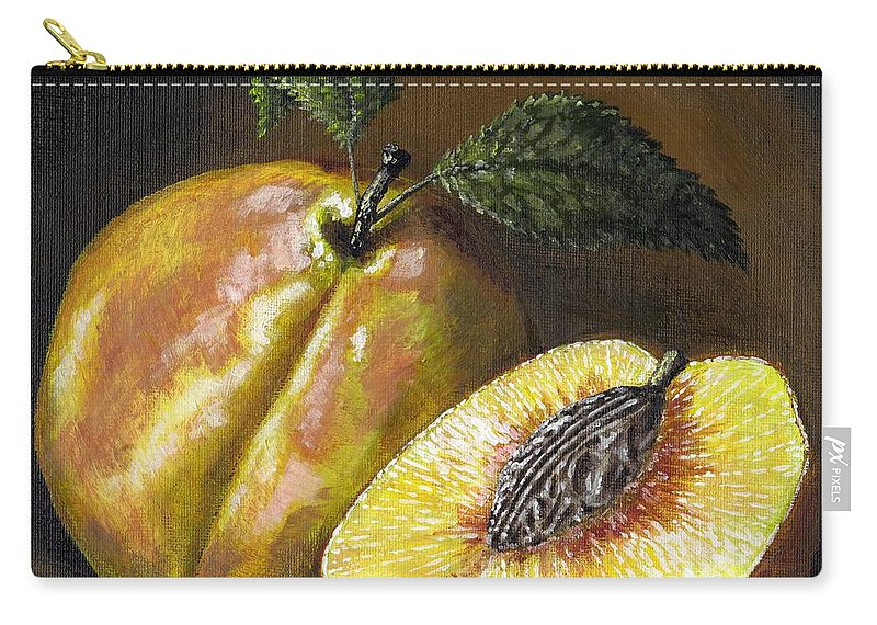 Acrylic Carry-all Pouch featuring the painting Fresh Peaches by Adam Zebediah Joseph