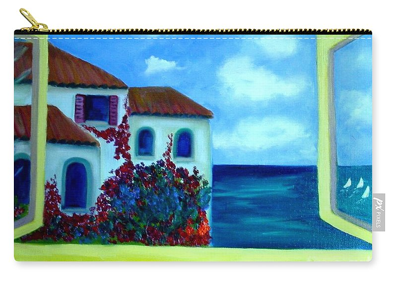 Seascape Carry-all Pouch featuring the painting Fresh Sea Air by Laurie Morgan
