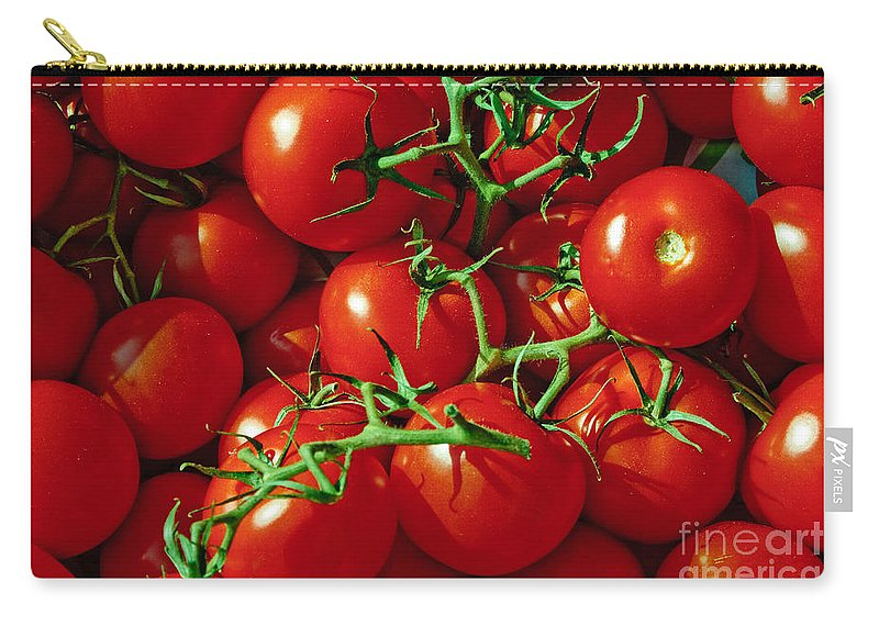 Tomato Carry-all Pouch featuring the photograph Fresh Tomotos On The Vine by Thomas Marchessault