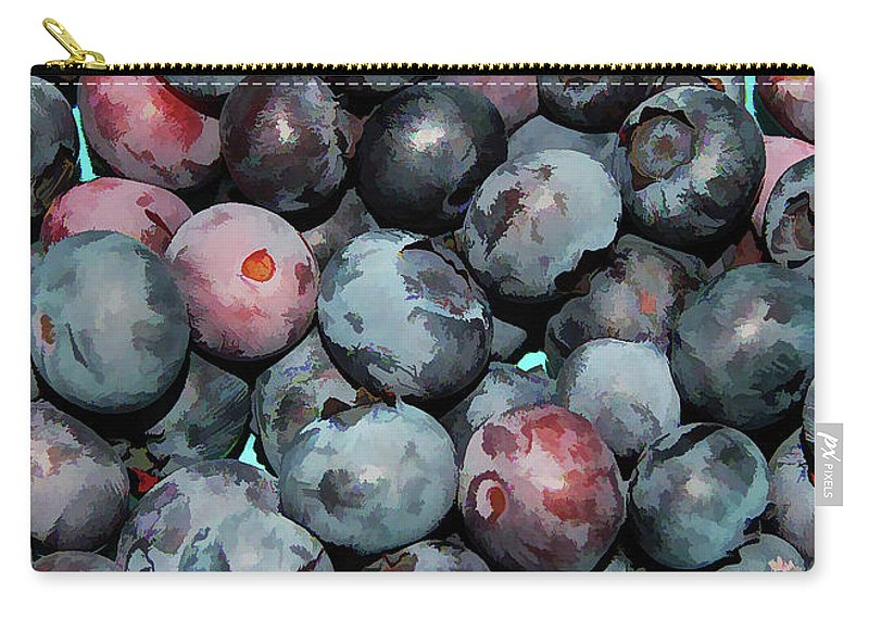 Freshly Picked Blueberries Carry-all Pouch featuring the painting Freshly Picked Blueberries by Jeelan Clark