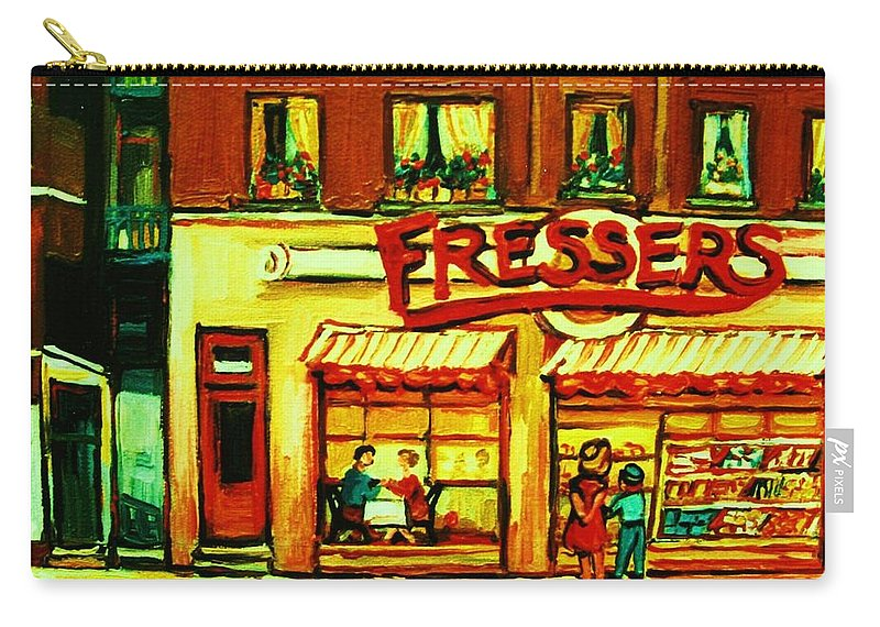 Fressers Carry-all Pouch featuring the painting Fressers Takeout Deli by Carole Spandau