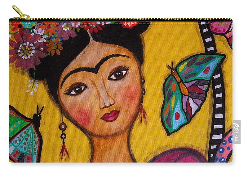 Flower Carry-all Pouch featuring the painting Frida Kahlo by Pristine Cartera Turkus