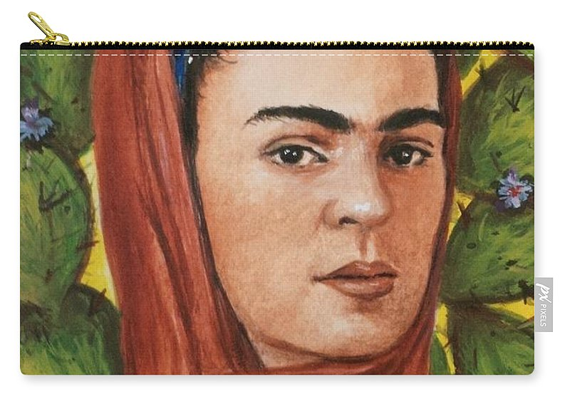 Frida Carry-all Pouch featuring the painting Frida by Yelena Day
