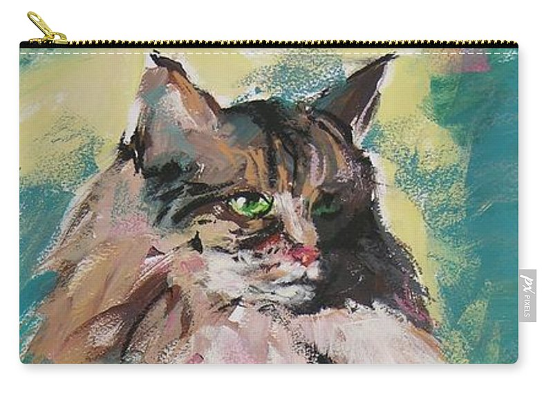 Cat Carry-all Pouch featuring the painting Friday Lioness by Mary McInnis