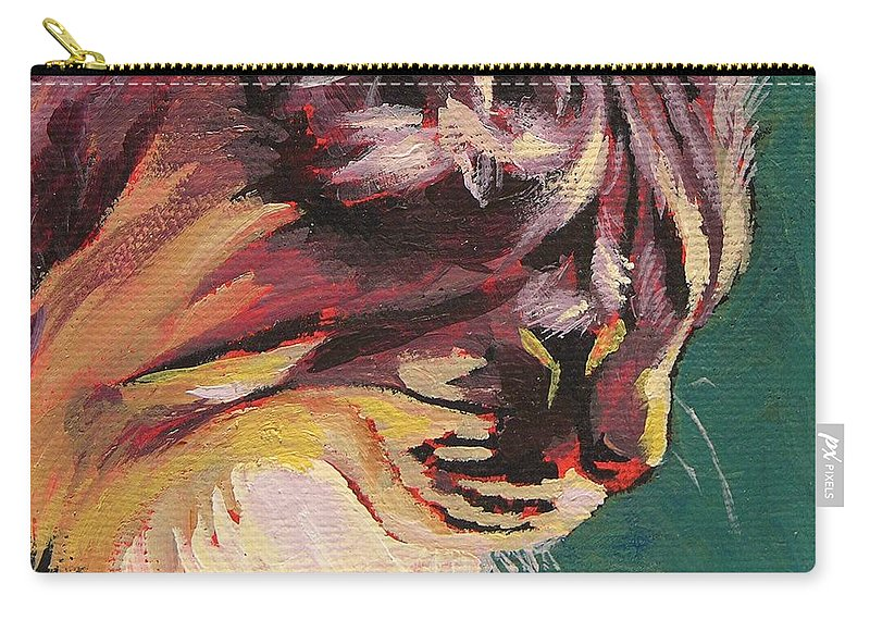 Cat Carry-all Pouch featuring the painting Friday Sunning Herself by Mary McInnis