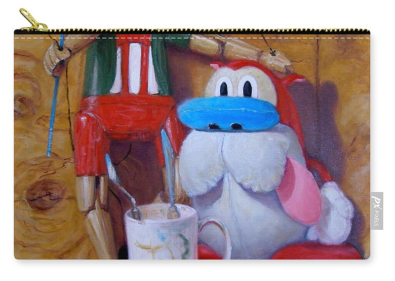 Realism Carry-all Pouch featuring the painting Friends 2 - Pinocchio And Stimpy  by Donelli DiMaria