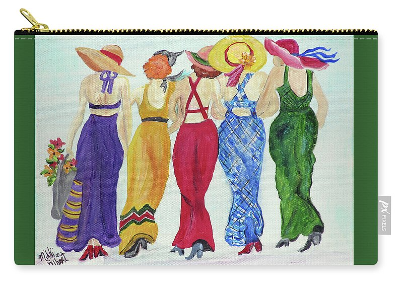 Sundresses Carry-all Pouch featuring the painting Friends by Mikki Alhart