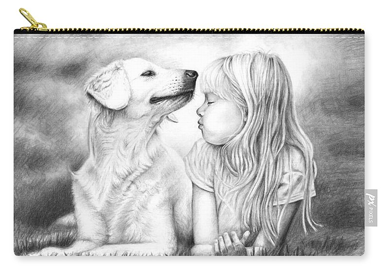 Dog Carry-all Pouch featuring the drawing Friends by Nicole Zeug