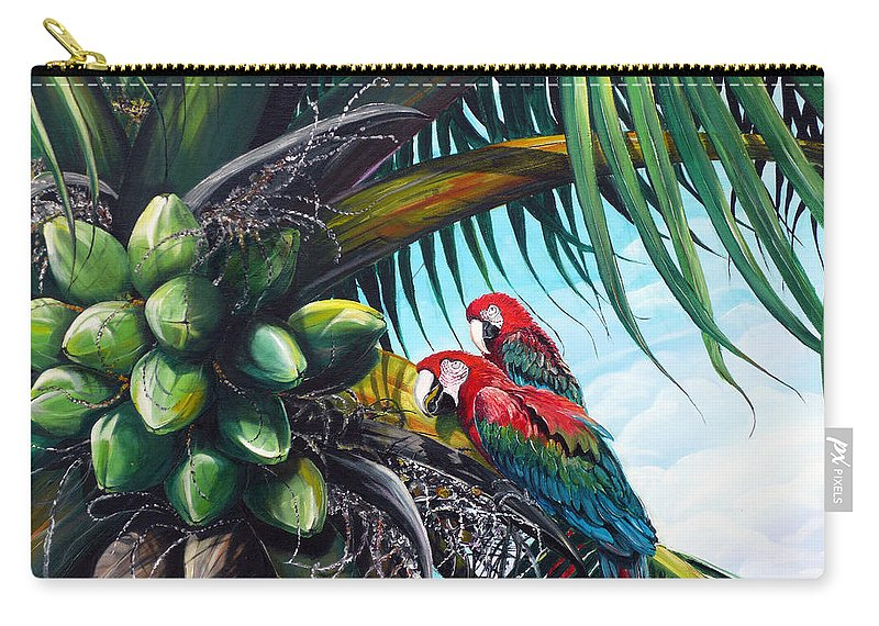Macaws Bird Painting Coconut Palm Tree Painting Parrots Caribbean Painting Tropical Painting Coconuts Painting Palm Tree Greeting Card Painting Carry-all Pouch featuring the painting Friends Of A Feather by Karin Dawn Kelshall- Best
