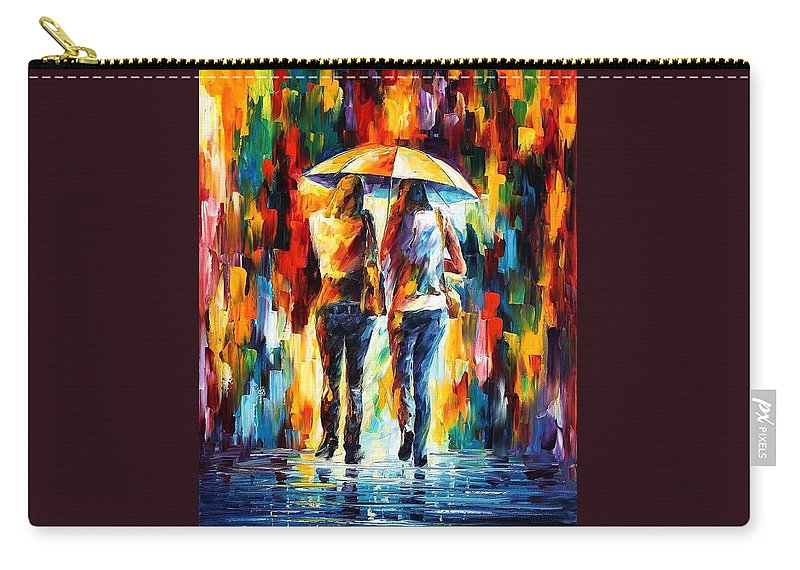 Afremov Carry-all Pouch featuring the painting Friends Under The Rain by Leonid Afremov