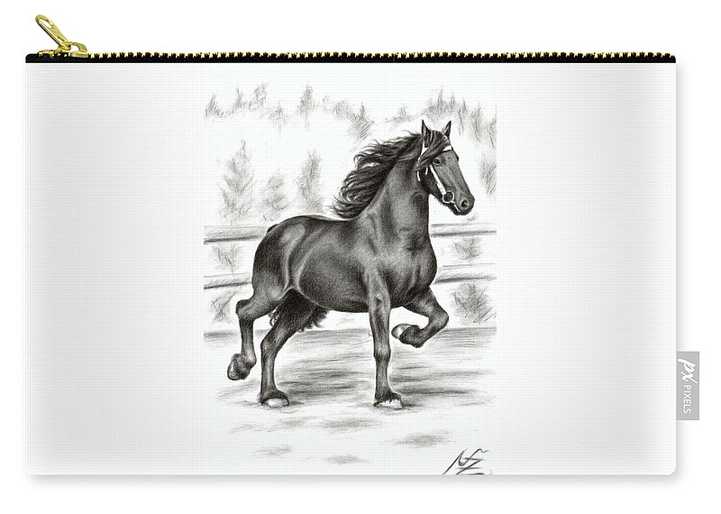 Horse Carry-all Pouch featuring the drawing Friesian Horse by Nicole Zeug