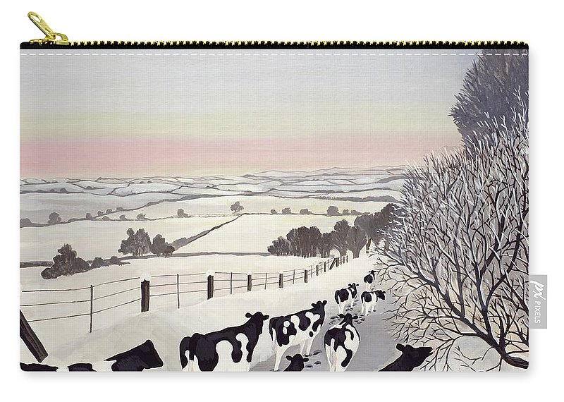 Fence; Cow; Cows; Landscape; Winter; Snow; Tree; Trees; Friesians; Animal; Farm Animal Carry-all Pouch featuring the painting Friesians in Winter by Maggie Rowe