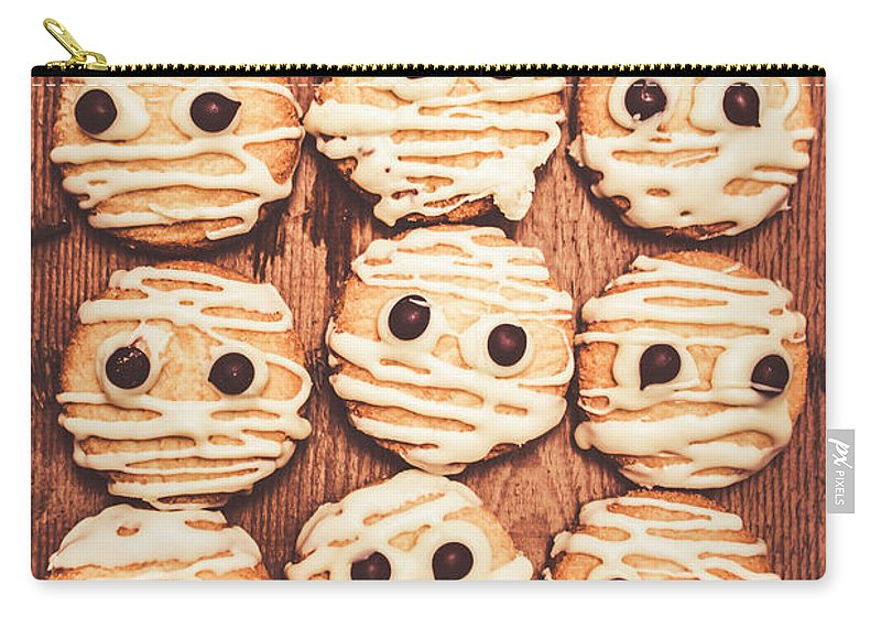 Halloween Carry-all Pouch featuring the photograph Frightened Mummy Baked Biscuits by Jorgo Photography - Wall Art Gallery