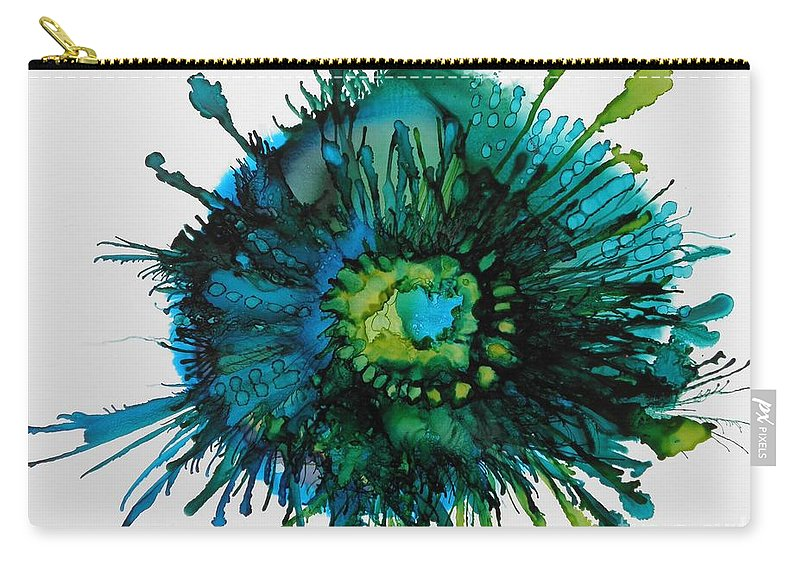 Alcohol Ink Carry-all Pouch featuring the painting Fringe by Beth Kluth
