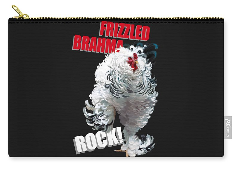 Frizzled Brahma Light Brahma Carry-all Pouch featuring the digital art Frizzled Brahma T-shirt Print by Sigrid Van Dort