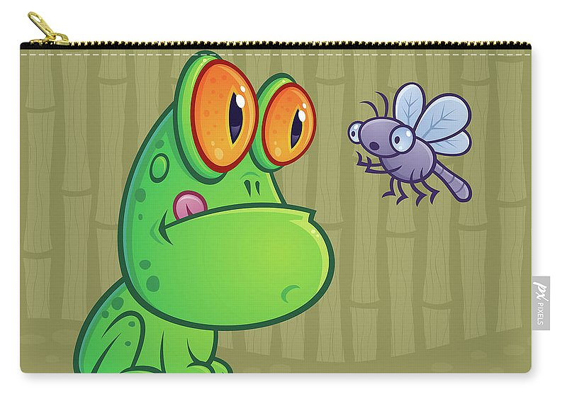 Frog Carry-all Pouch featuring the digital art Frog and Dragonfly by John Schwegel
