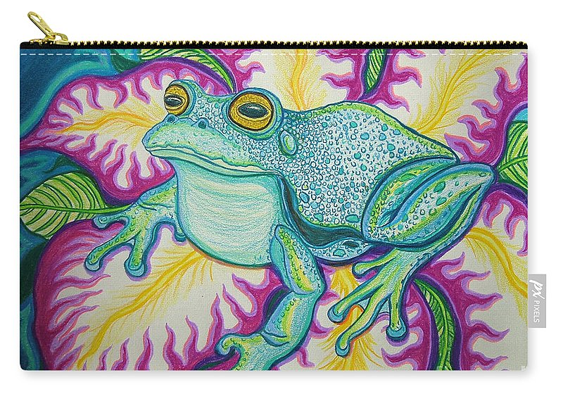 Frog And Flower Art Carry-all Pouch featuring the drawing Frog And Flower by Nick Gustafson