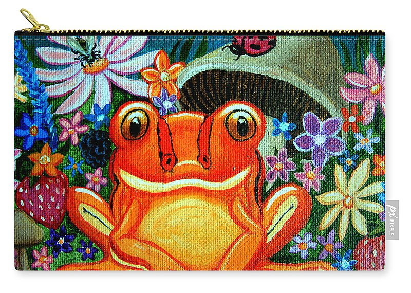 Frogs Carry-all Pouch featuring the painting Frog And Flowers by Nick Gustafson