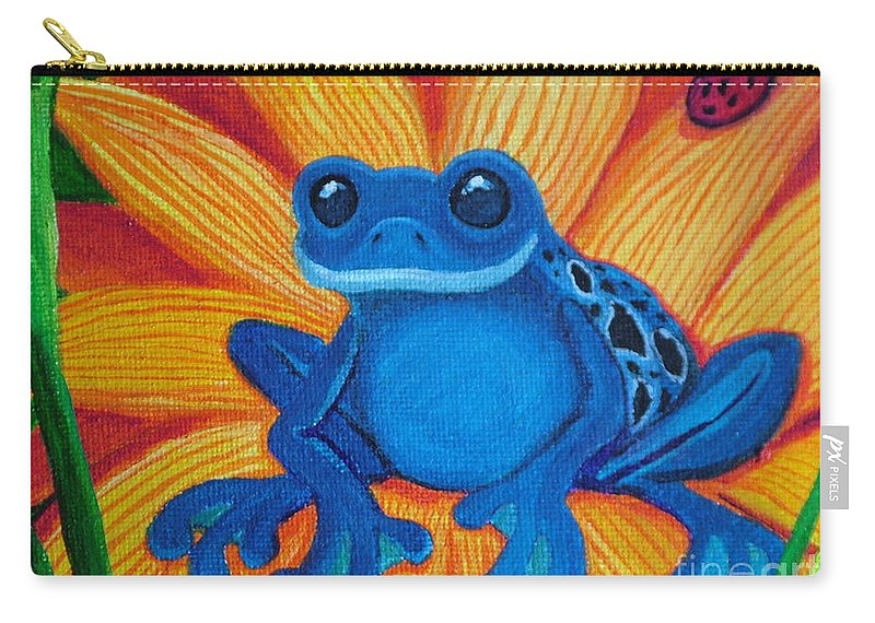Frog And Flower Painting Carry-all Pouch featuring the painting Frog And Lady Bug by Nick Gustafson