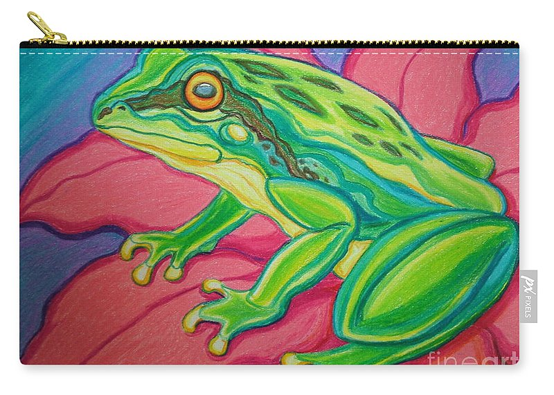 Frog Carry-all Pouch featuring the drawing Frog On Flower by Nick Gustafson