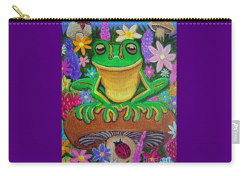 Frog Artwork Frog Painting Whimsical Artwork Green Frogs Carry-all Pouch featuring the painting Frog On Mushroom by Nick Gustafson