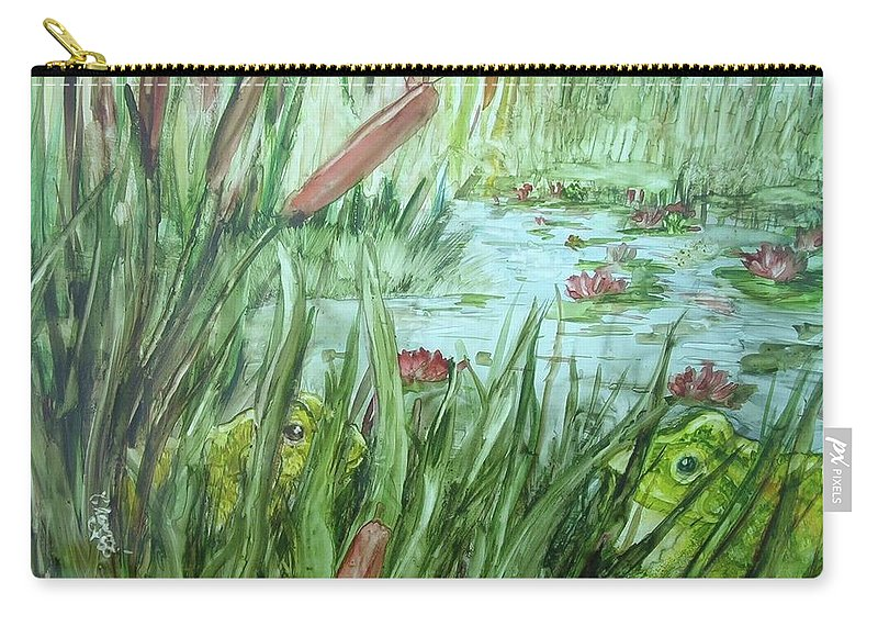 Beauty Is In The Eye Of The Beholder And This Guy Thinks She Is A Doll. Pond Carry-all Pouch featuring the painting Frog Went A-courtin by Charme Curtin