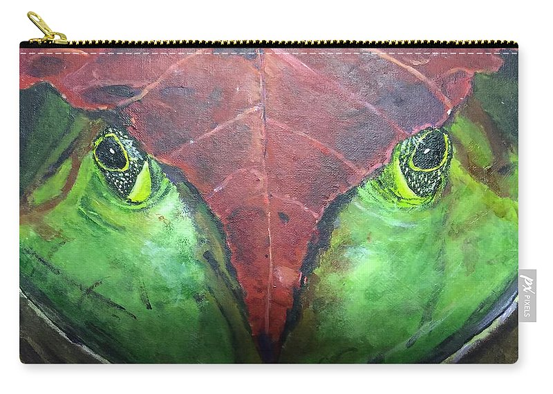 Frog Leaf Nature Carry-all Pouch featuring the painting Frog With Leaf by Dennis Wilson