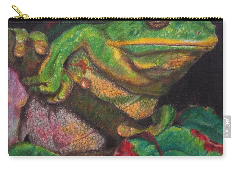Frog Carry-all Pouch featuring the painting Froggie by Karen Ilari
