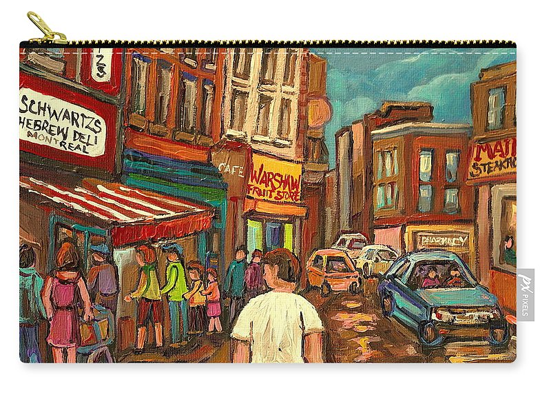 From Schwartzs To Warshaw Carry-all Pouch featuring the painting From Schwartz's To Warshaws To The Main Steakhouse Montreal's Famous Landmarks By Carole Spandau by Carole Spandau