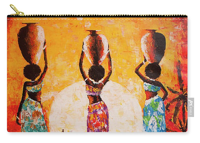 African Art Carry-all Pouch featuring the painting From The River by Jethro Longwe