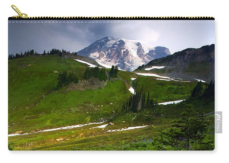Rainier Carry-all Pouch featuring the photograph From The Top by Mike Dawson