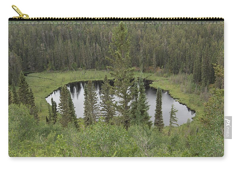Esker Hills Saskatchewan Hanson Lake Road Lake Forest Water Trees Evergreen Scenery Wild Pond Carry-all Pouch featuring the photograph From The Top Of Esker Hills by Andrea Lawrence