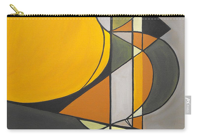 ruth Palmer Abstract Geometric Painting Acrylic Black Grey Green Orange Carry-all Pouch featuring the painting From Time To Time by Ruth Palmer