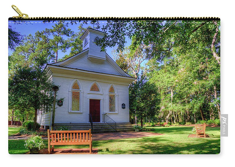 Church Carry-all Pouch featuring the photograph Front Of A Small Church by TJ Baccari