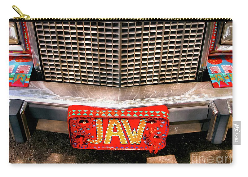 Car Carry-all Pouch featuring the photograph Front Of The Car - Grill And Plate by Kathleen K Parker