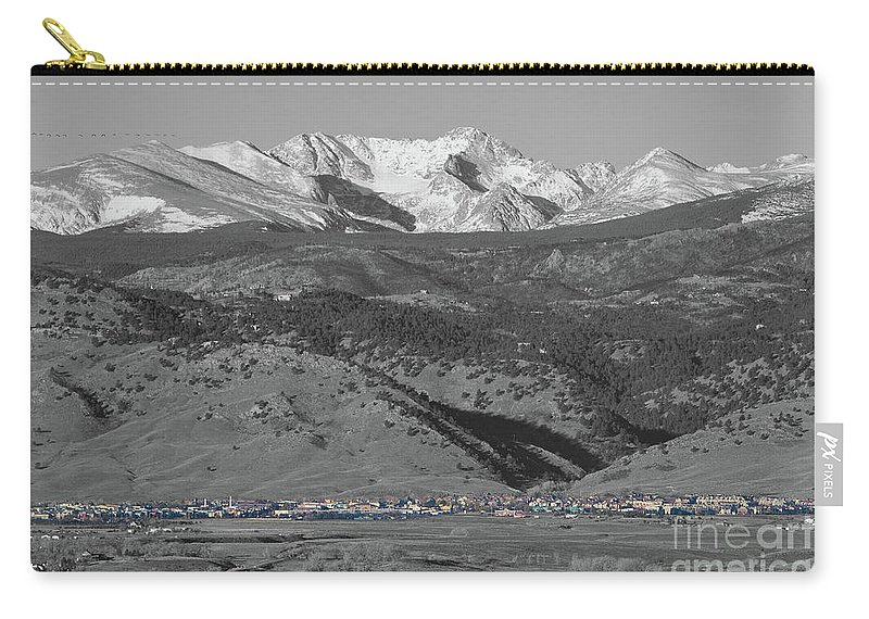 Selective Color Carry-all Pouch featuring the photograph Front Range View North Boulder Colorado by James BO Insogna