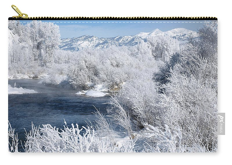 River Carry-all Pouch featuring the photograph Frost Along The River by DeeLon Merritt