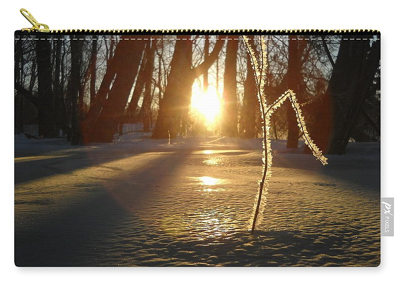 Sunrise Carry-all Pouch featuring the photograph Frost On Sapling At Sunrise by Kent Lorentzen