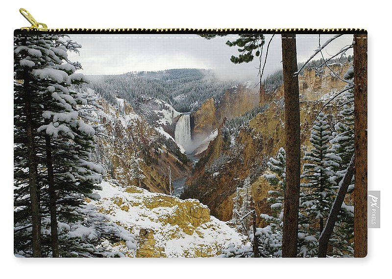 Yellowstone Carry-all Pouch featuring the photograph Frosted Canyon by Steve Stuller