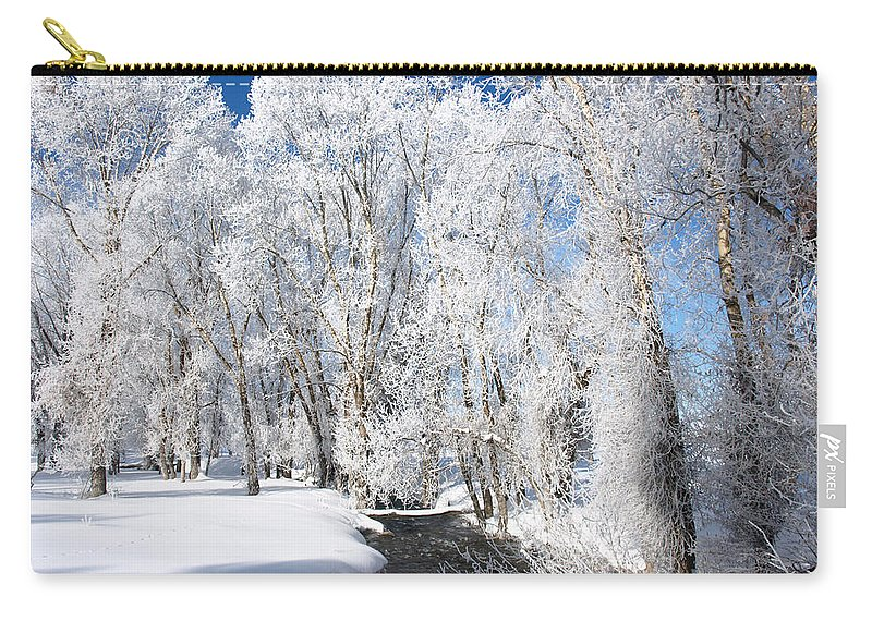 Frost Carry-all Pouch featuring the photograph Frosted Cottonwoods by DeeLon Merritt